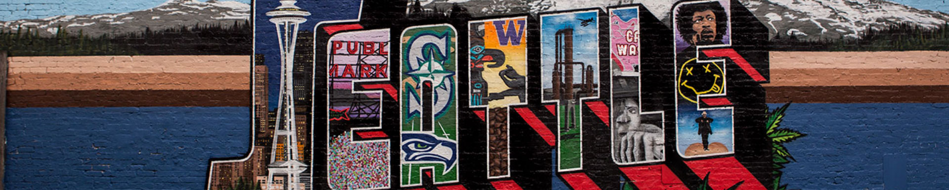 A mural of the word Seattle
