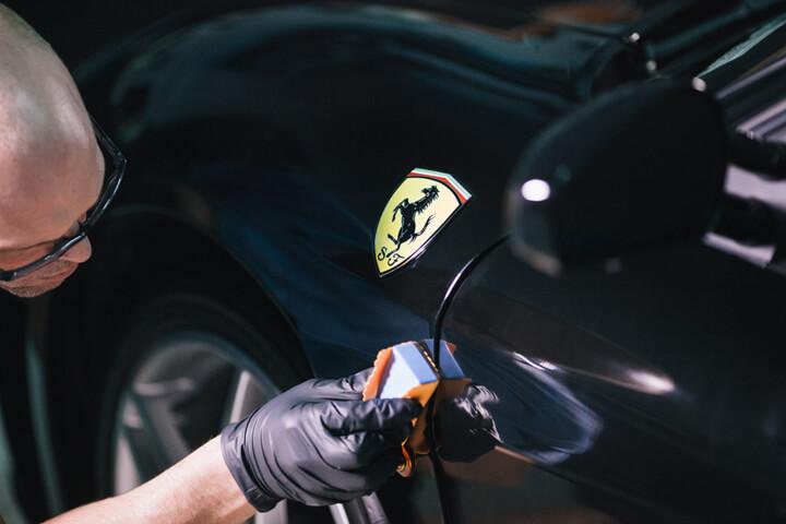 9H nano ceramic coating installation on Ferrari in Orlando Florida