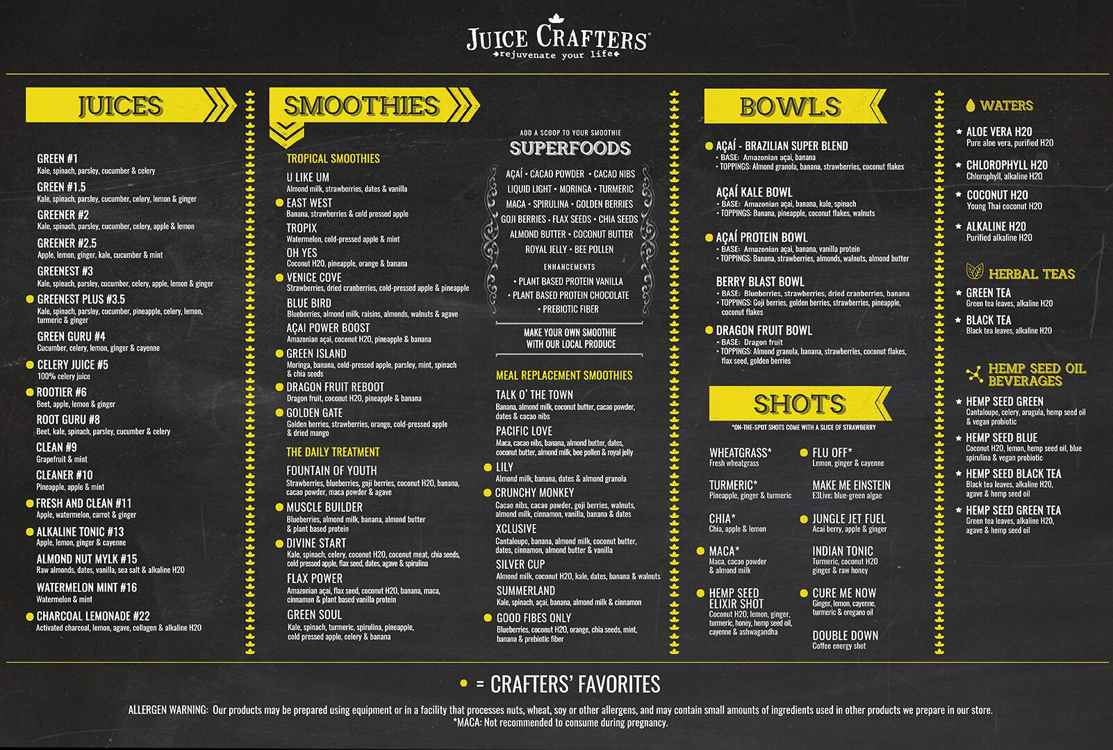 Juice Crafters Menu