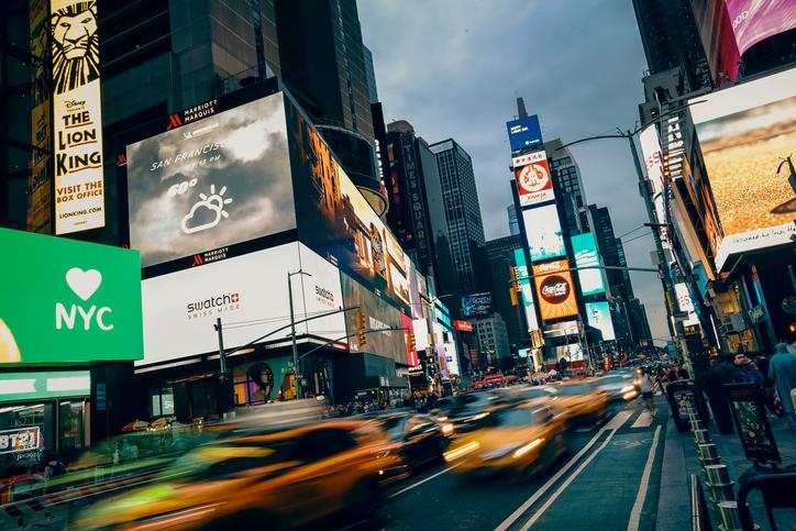 Digital OOH billboards on full display in downtown New York City.