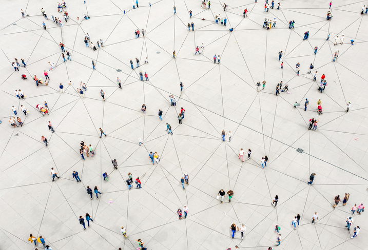 High angle perspective of people connected.