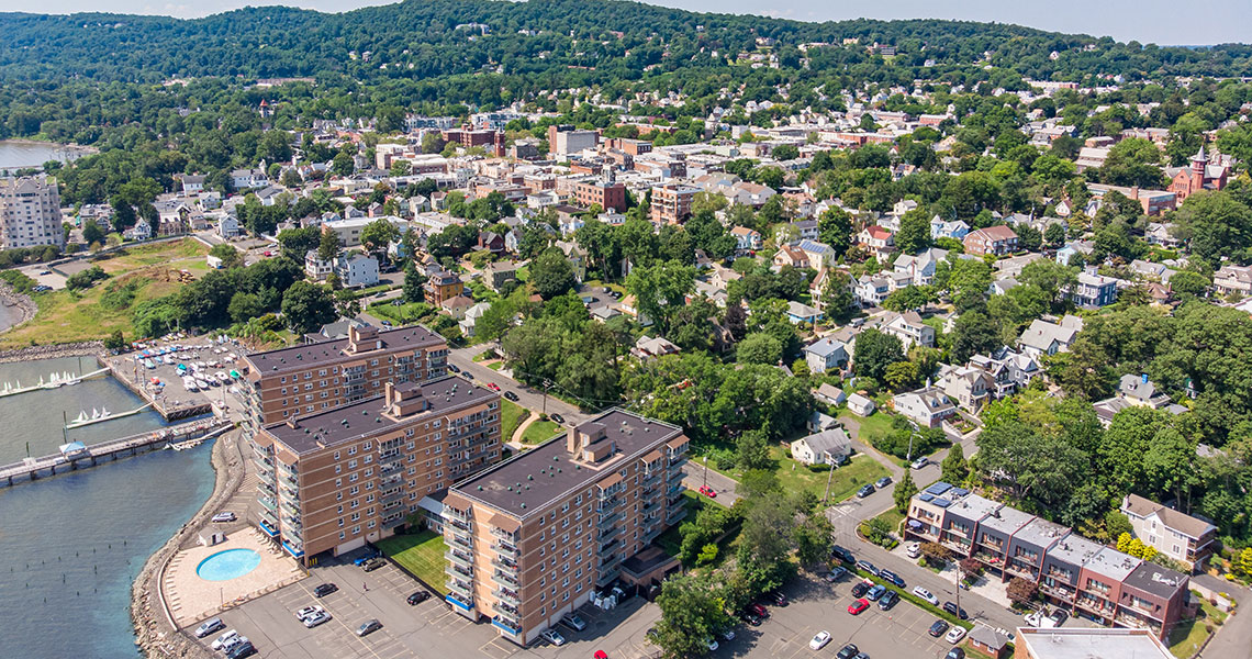 Aerial view of West Shore Towers and Nyack from the north