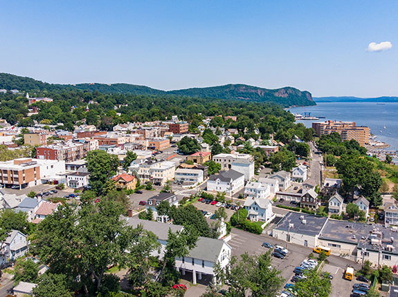 Aerial view of Nyack looking north