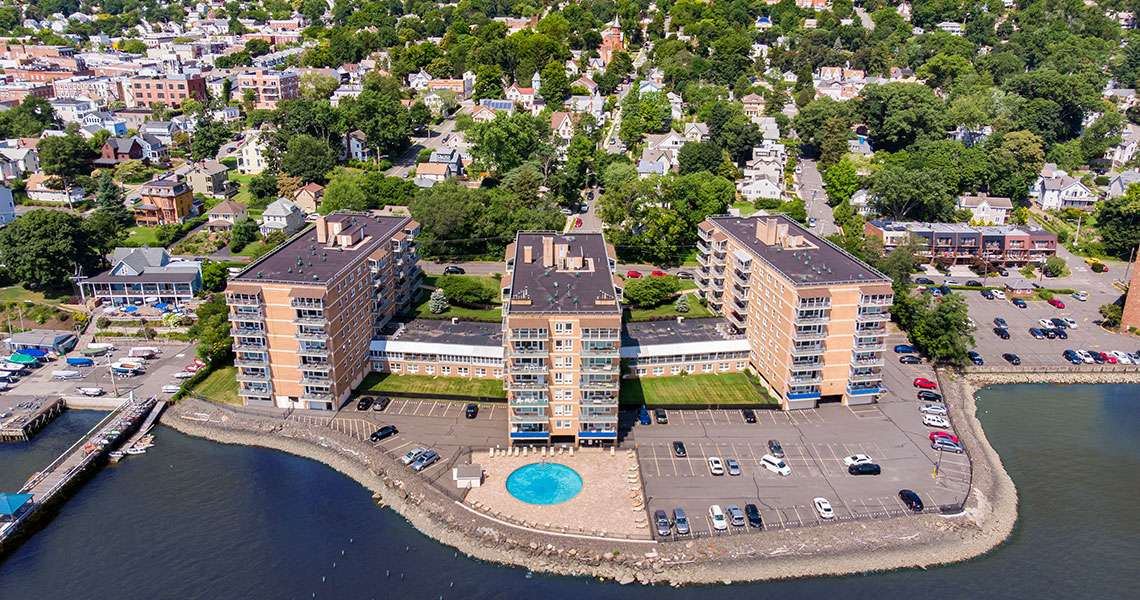 Aerial view of West Shore Towers looking west