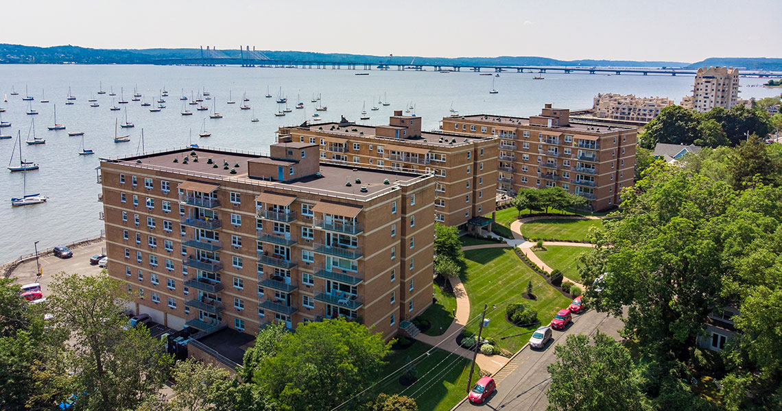 Aerial view of West Shore Towers looking south