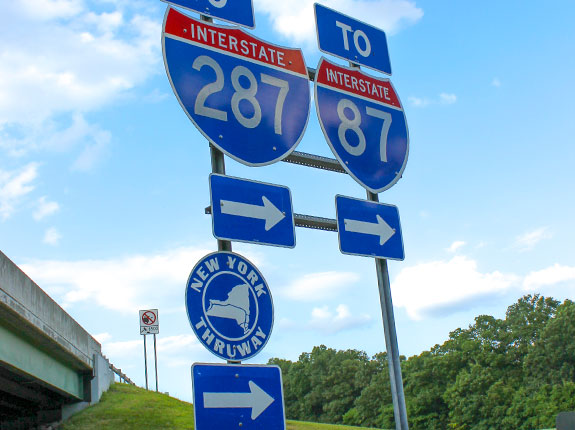 Road signs for New York State Thruway