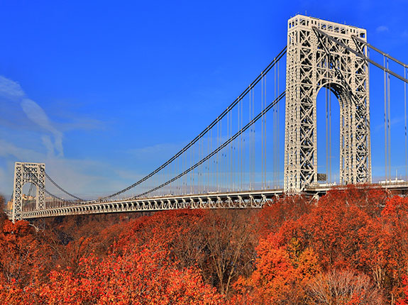 George Washington Bridge in autumn