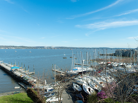 View from West Shore Towers overlooking boat dock
