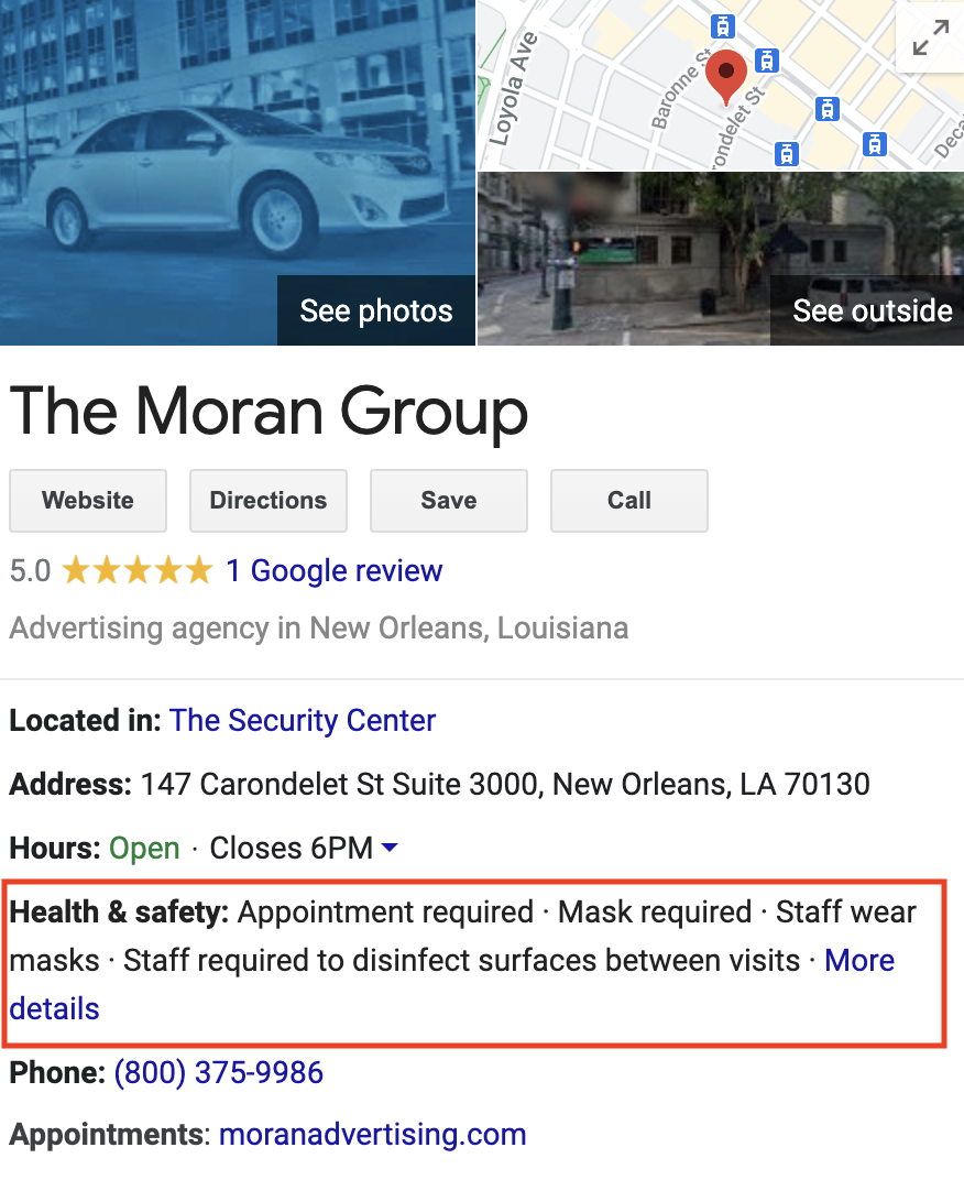 Health Safety Features on GMB Listing - Advertising Agency in New Orleans