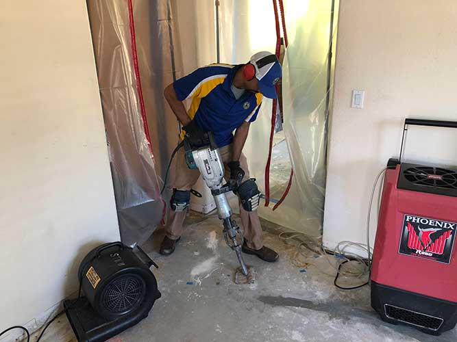 slab leak repair project