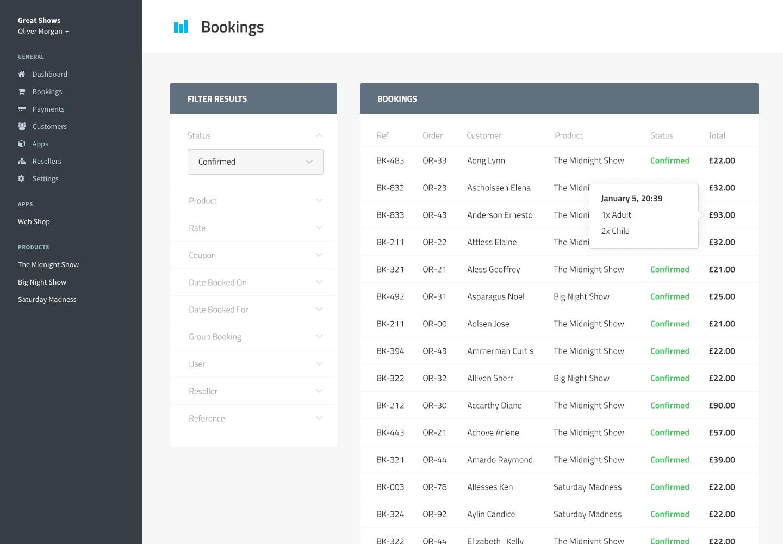 Online reservation software dashboard