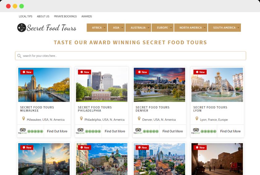 Secret food tours home page