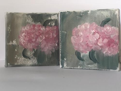 "Pink hydrangeas - 4x4x1.5"" (Pair)"