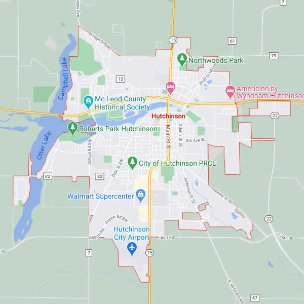 Map of Hutchinson, MN