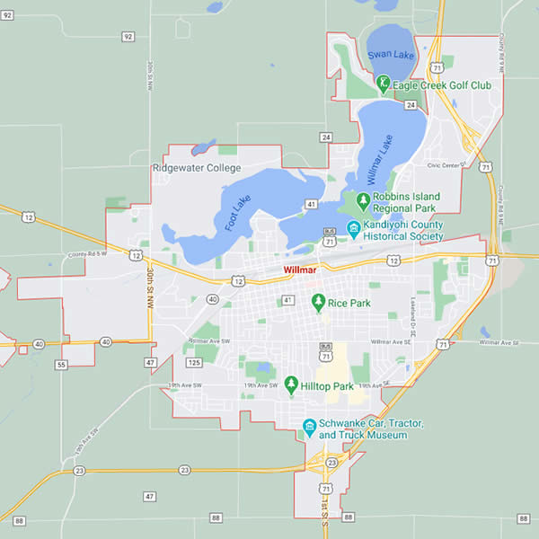 Map of Willmar, MN