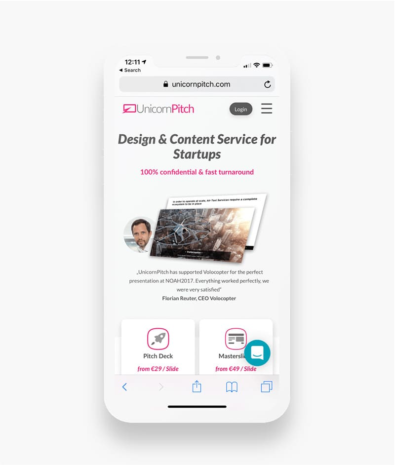 Startseite der Unicorn Pitch Website