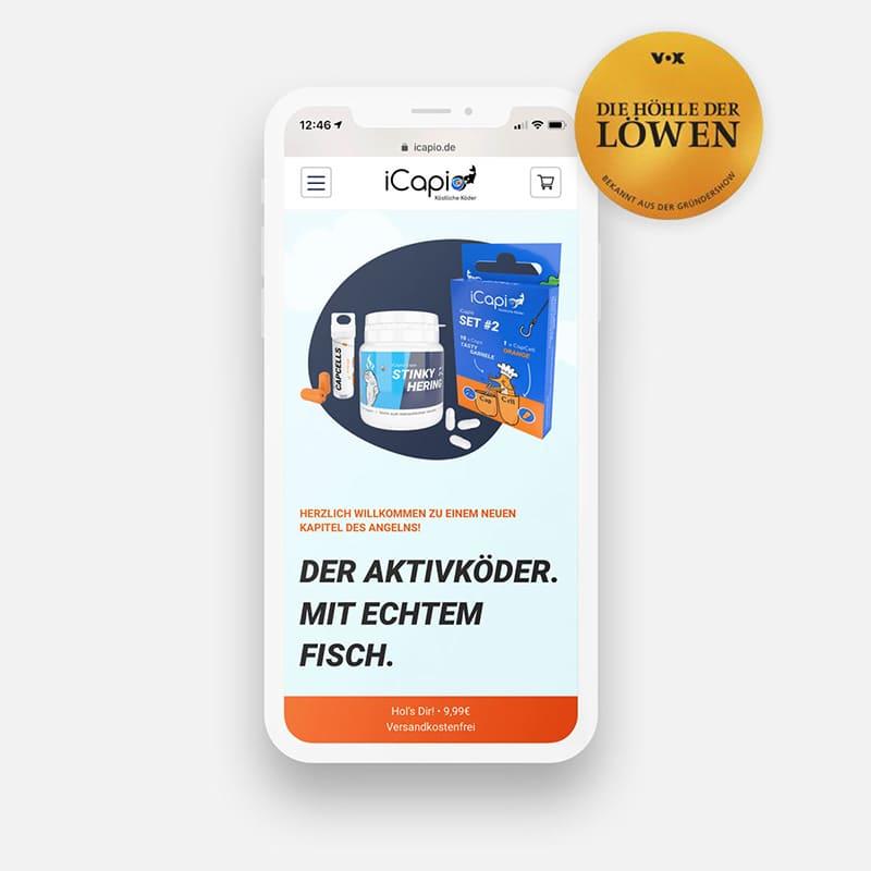 Mobile Ansicht des iCapio Online-Shops