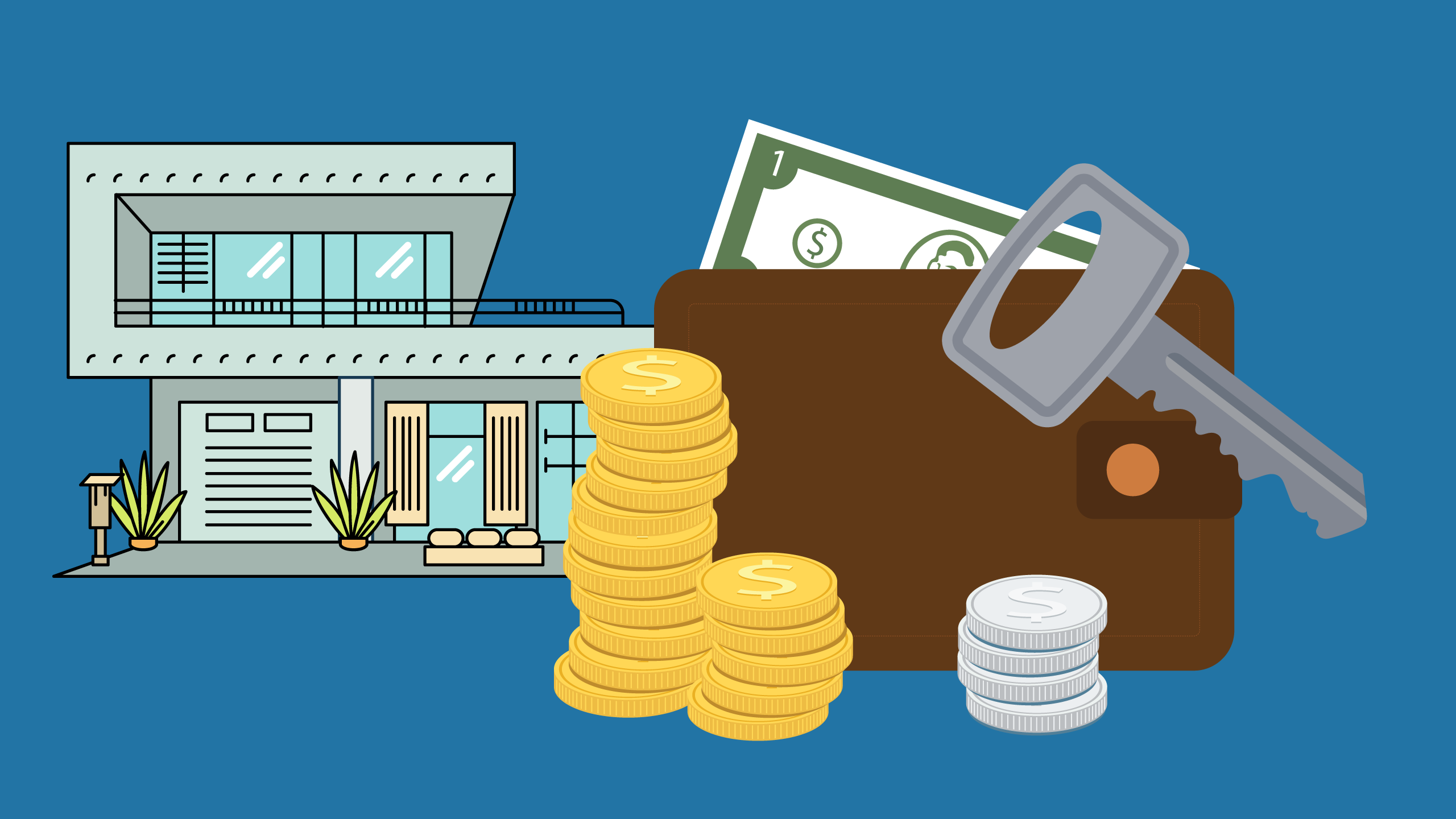 Clipart of modern home, wallet, coins, and home key