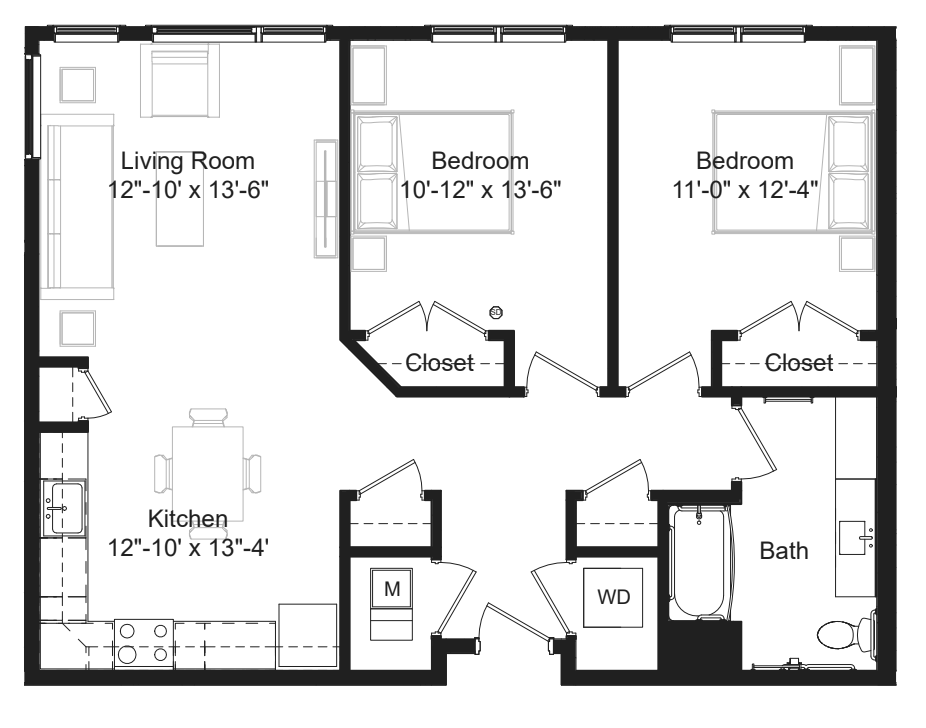 Two Bedroom Floor Plans