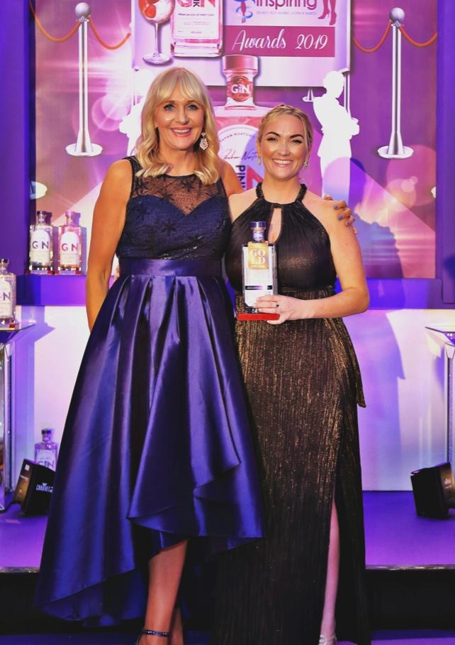 Compere Miriam O Callaghan with Laura Bonner at the Graham Norton Gin Inspiring Awards 2019 in Clayton Hotel Silver Springs Cork, 12th October 2019
