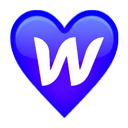 "Heart icon with ""w"" inside"