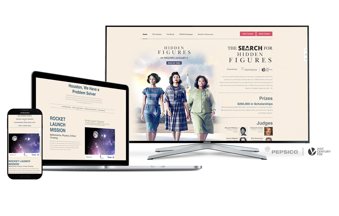 In-screen PepsiCo promotion examples related to the movie Hidden Figures