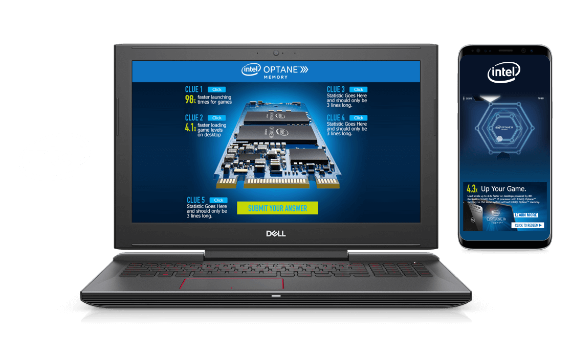 In-screen examples from Dell Alienware promotion featuring Intel products