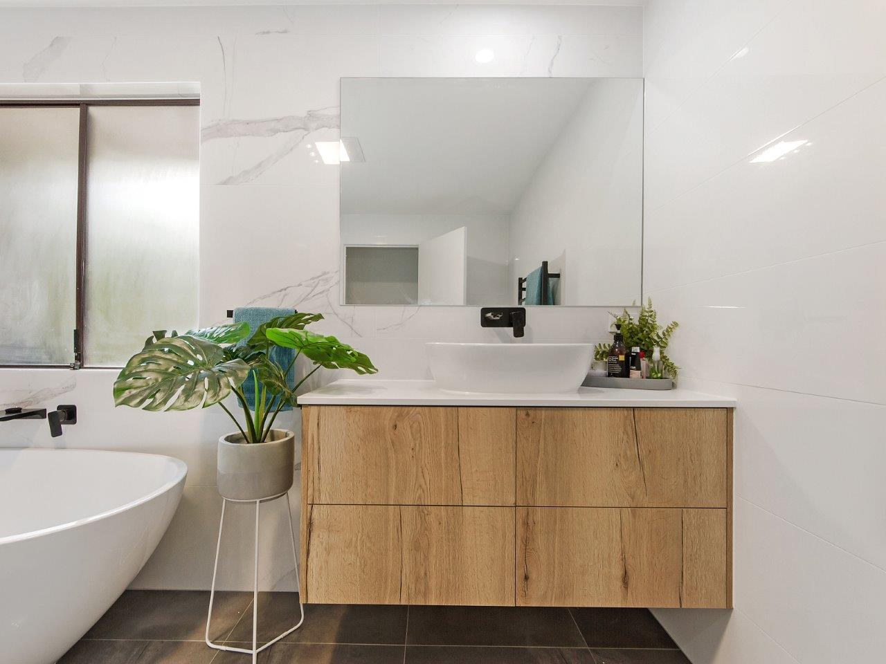 White and timber bathroom