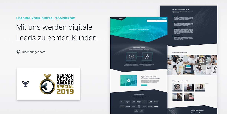 Das neue ideenhunger Webdesign für die ideenhunger media GmbH mit dem German Design Award 2019 ausgezeichnet wurde