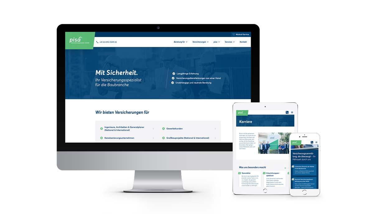 Darstellung einer Website auf einem PC, Tablet und Smartphone