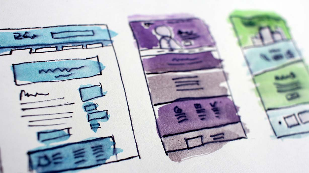 Gescribbelte Wireframes