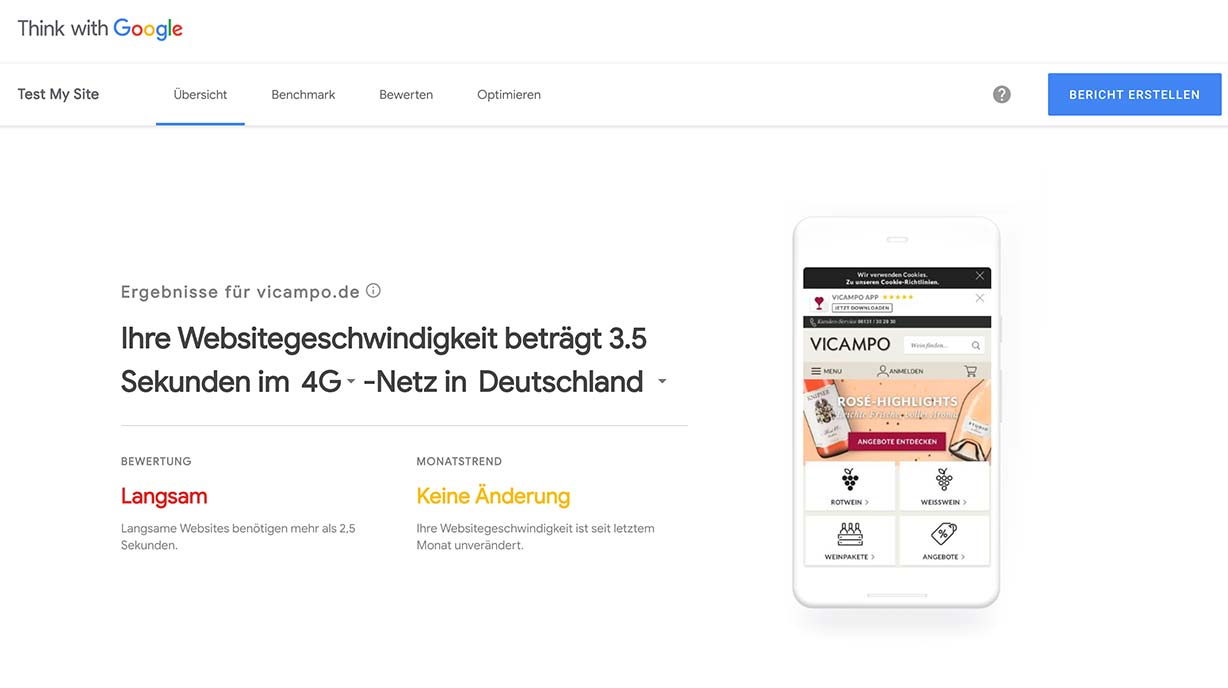 Screenshot einer Analyse mit Google Test My Site