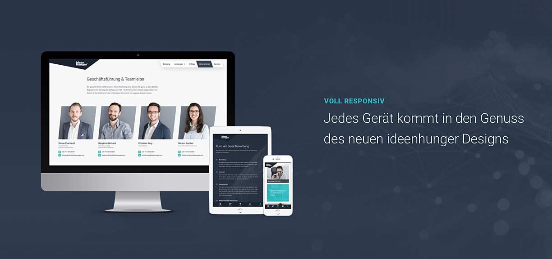 Impressionen der mit dem German Design Award ausgezeichneten ideenhunger Website