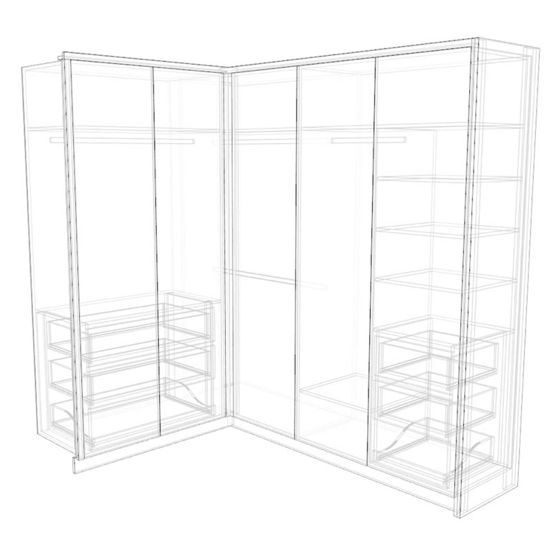 L-shaped wardrobe X-ray model