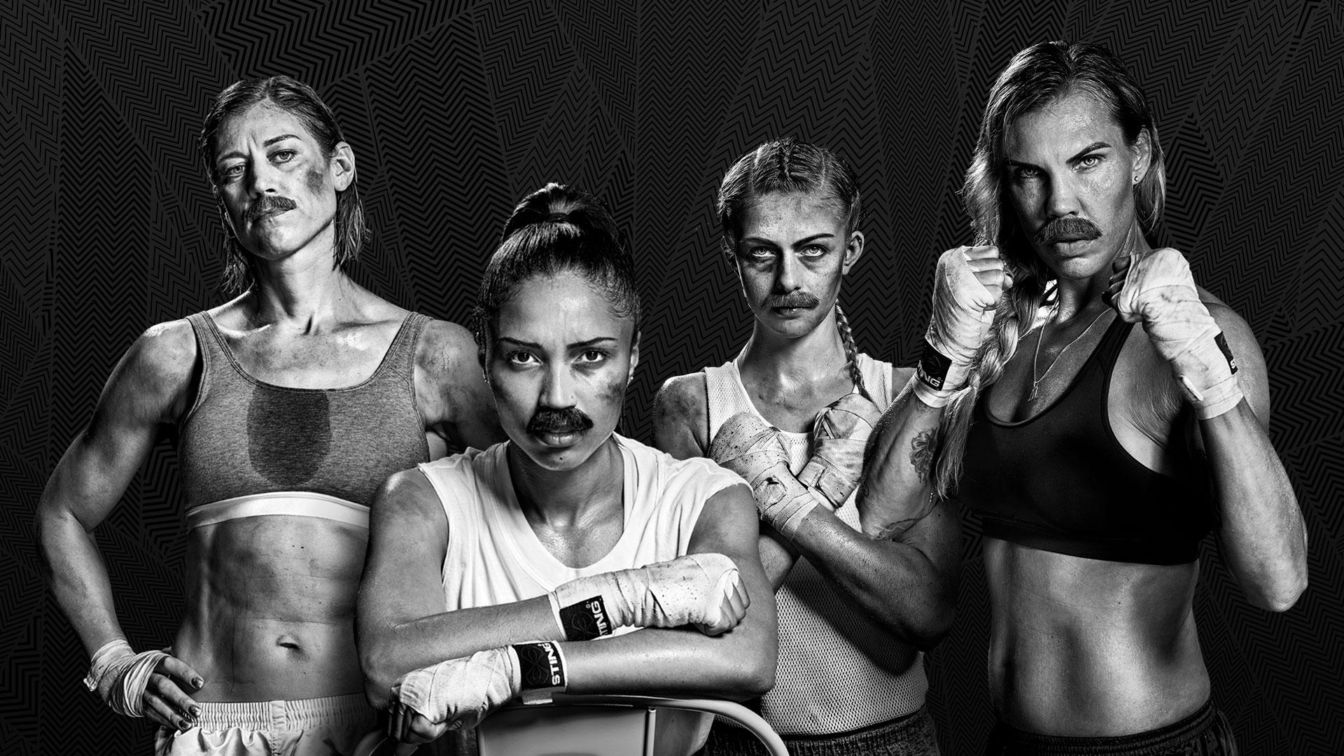 En grupp kvinnliga boxare i lösmustascher som ser tuffa ut.