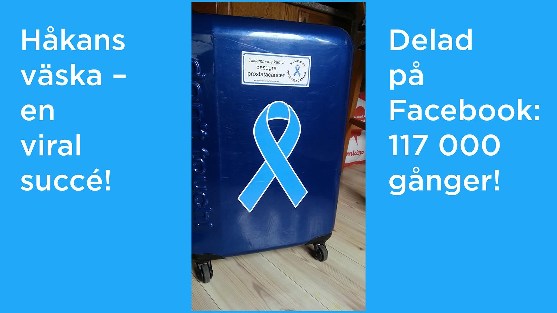 Bild på resväskan med Prostatacancerförbundets logga