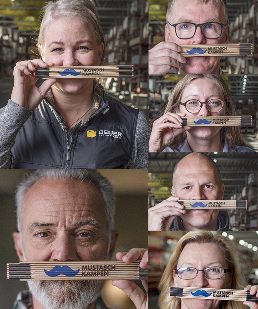 Personer som har tagit selfie med Beijers meterstock med mustasch