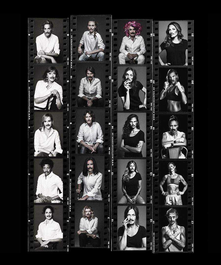 Porträtt av alla kända kvinnor som är porträtterade för Mustaschkampen