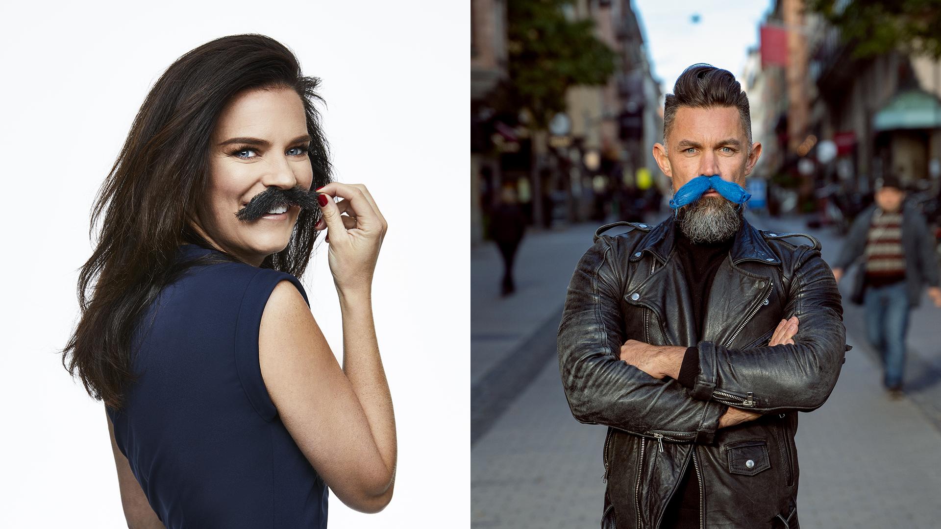 Anna Benson och Martin Szepczynski, två av Mustaschkampens ambassadörer år 2021.