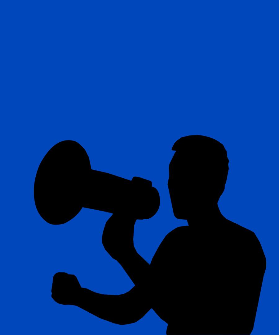 Siluett av en man med en megafon