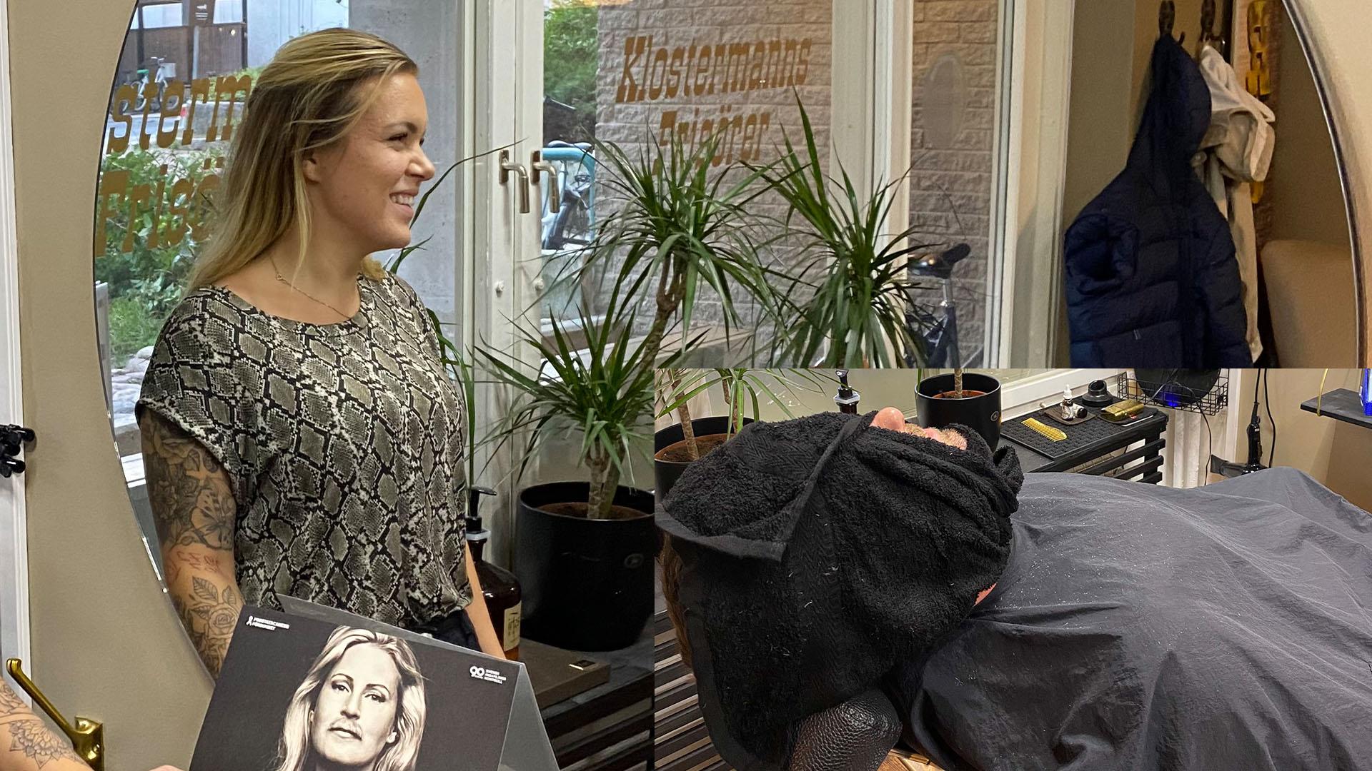 Barberare Nathalie Jäderqvist och Mustaschkampens kampanjledare Per-Anders Nygård hos Klostermanns Frisörer