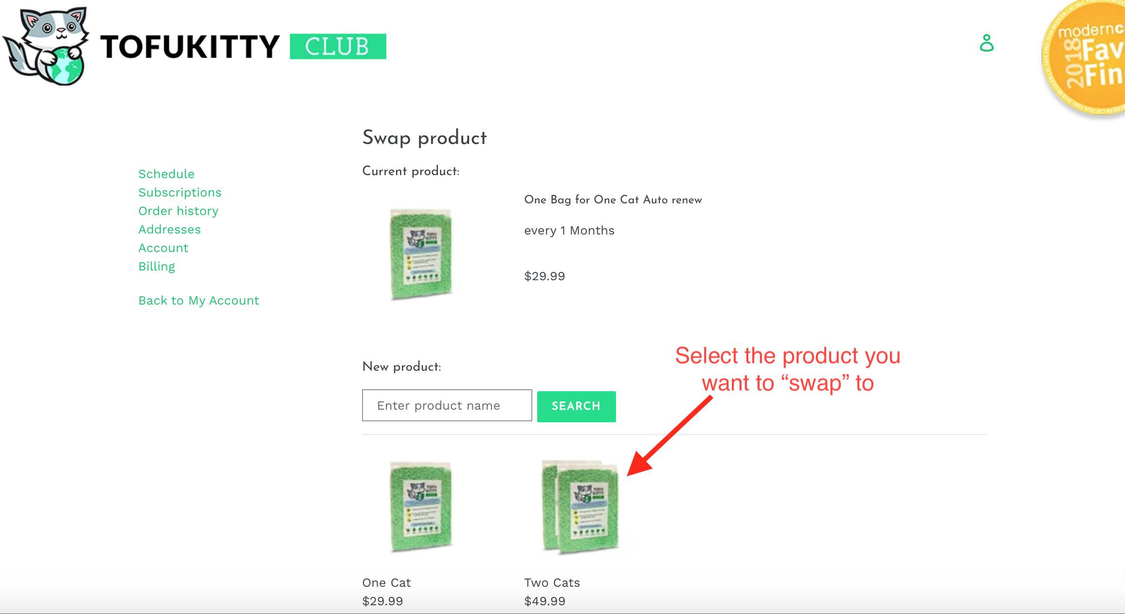 swap the product tofukitty account