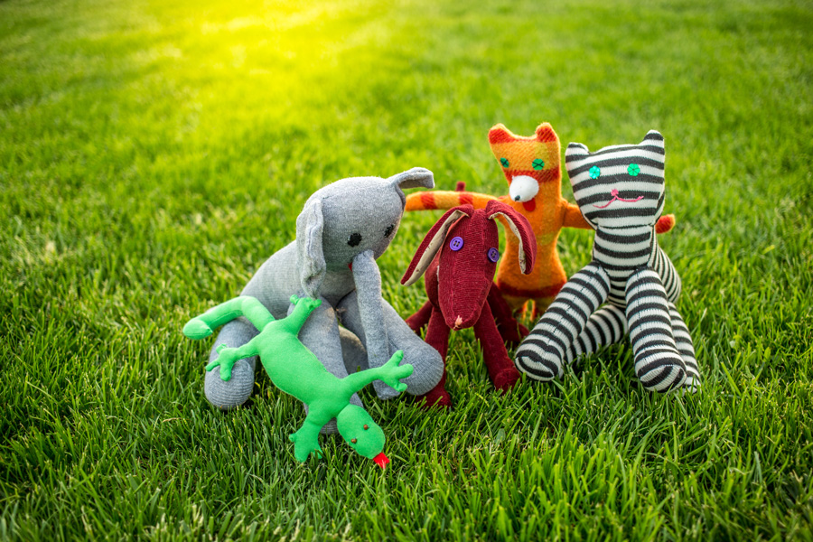 eco-friendly cat toys on the grass