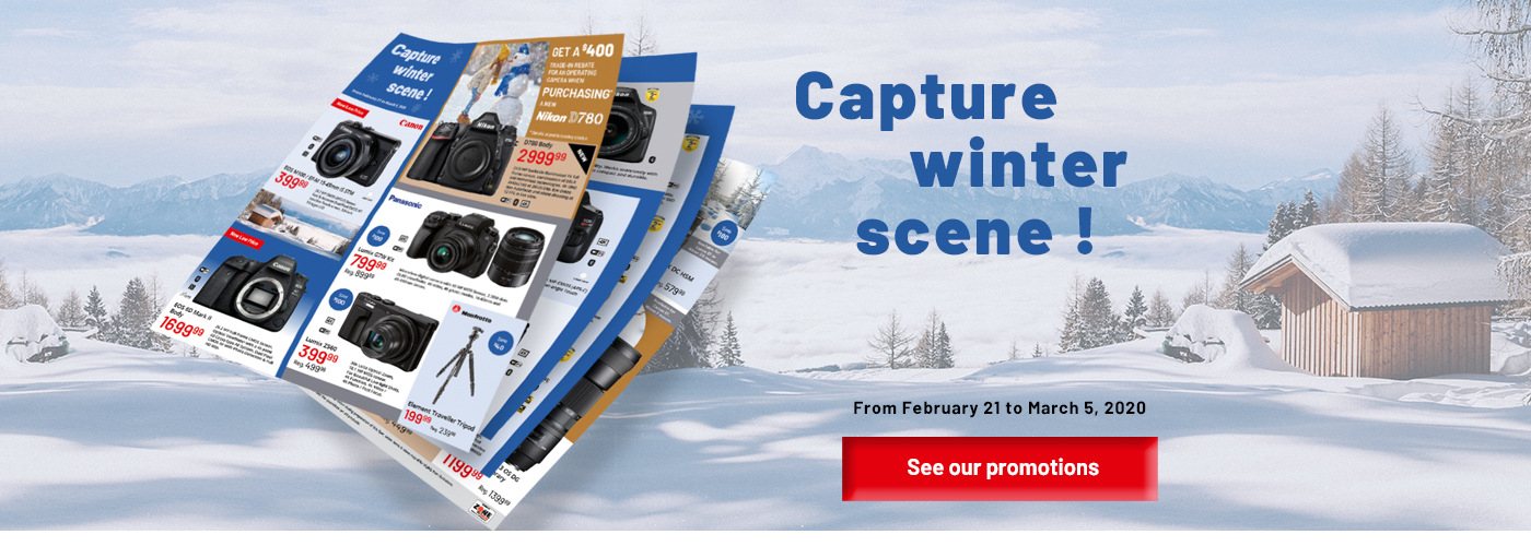 Downtown Camera Capture Winter Scene Sales Event Flyer