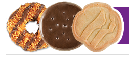 Three Girl Scout cookies in a line.