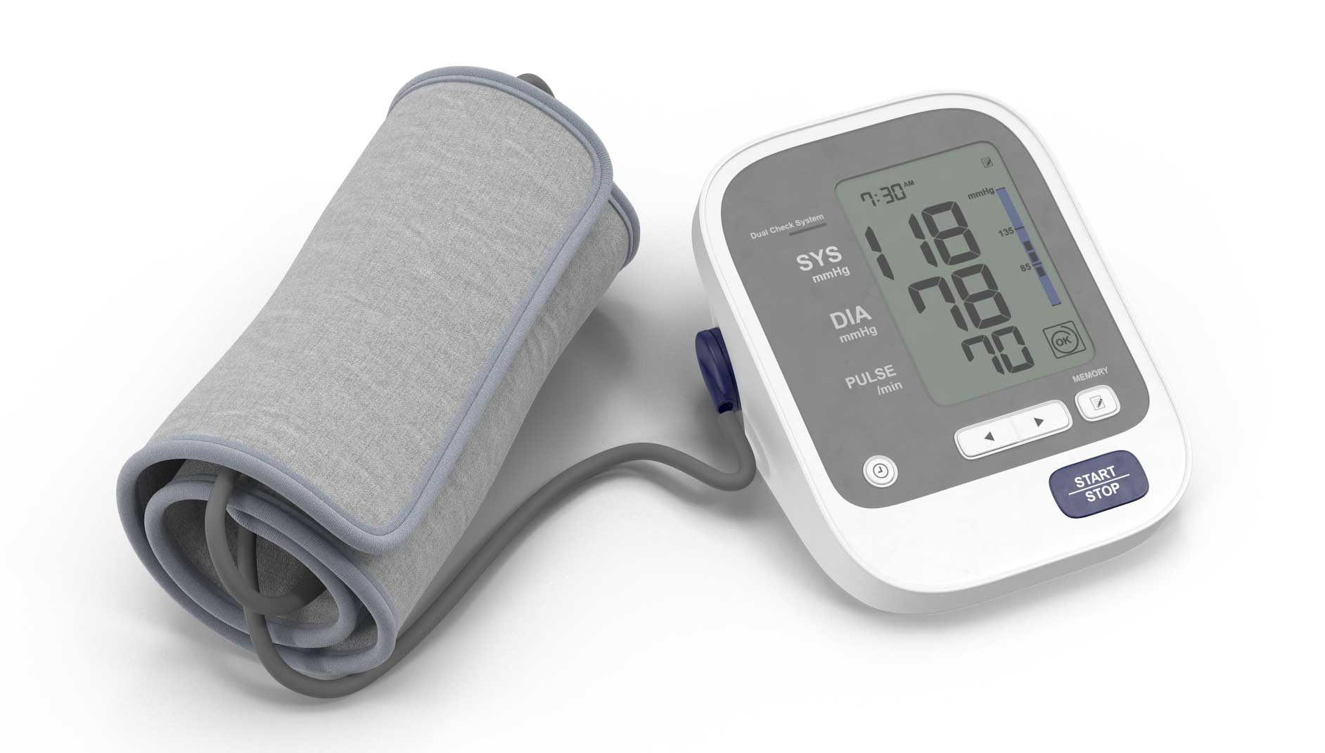 Great and white blood pressure cuff with digital display.