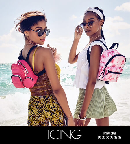 Two young women with Icing summer bags