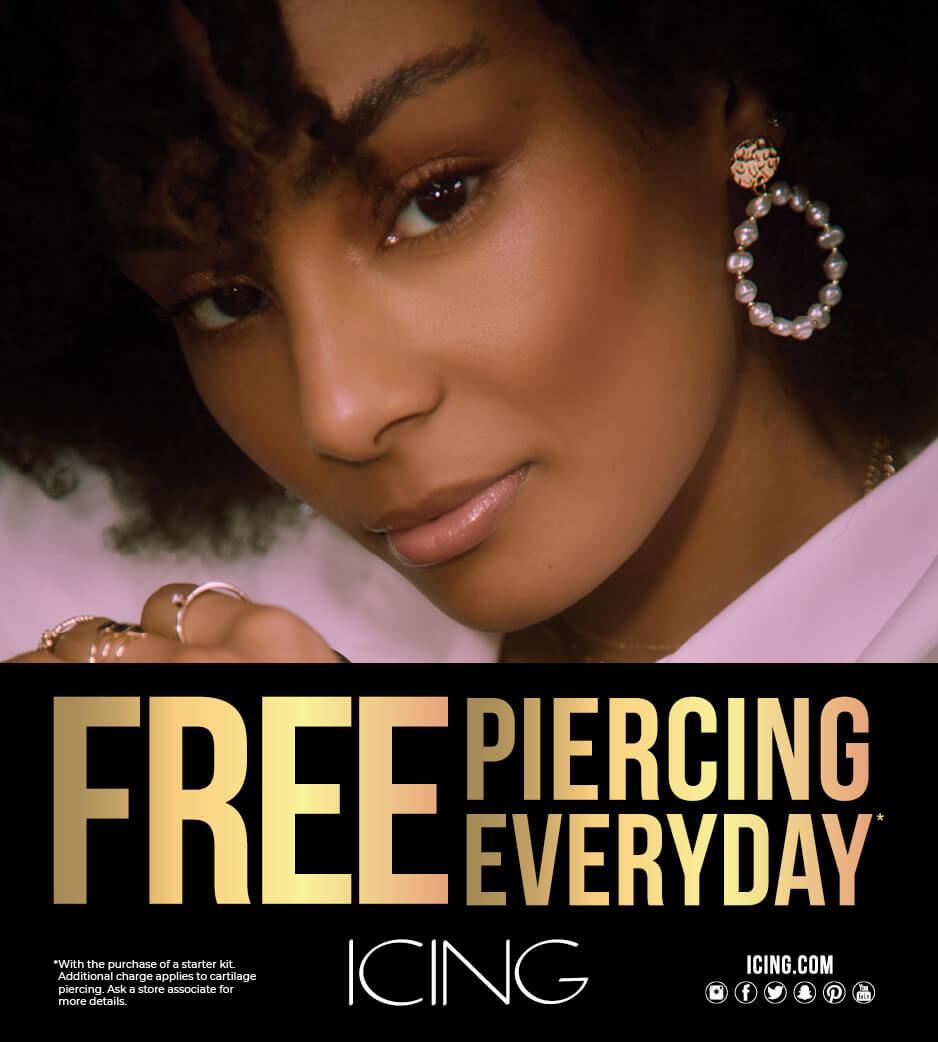 Young woman wearing Icing Earrings
