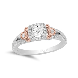 Silver ring with rose gold detail and diamonds.