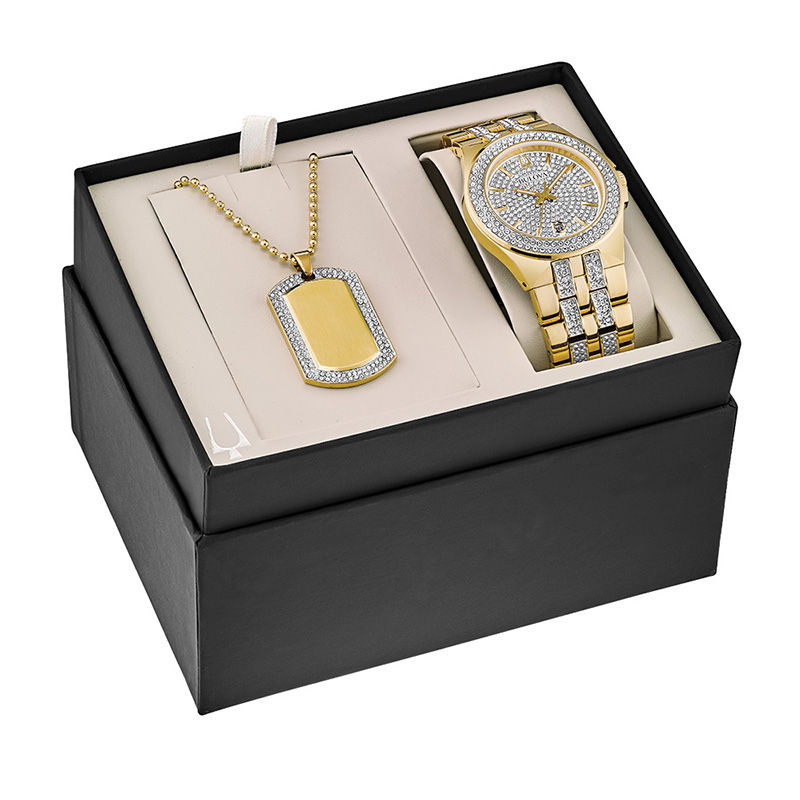 Gold Necklace with a Gold watch in a black case